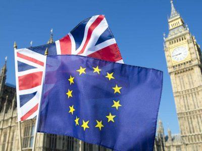 European union flag and union jack